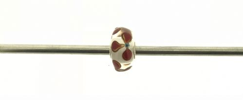 Trollbeads Unique Red And White Glass Bead U165